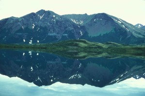 scenic, Togiak, lake, mountains, background, reflected, water