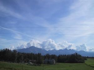 луг, дерева, гори, хмари, alsaka