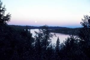volledige, maan, lake