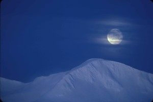 moonrise, snow, covered, mountains