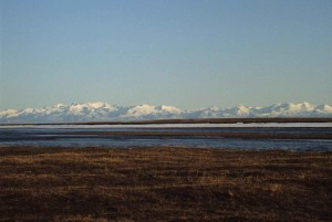 hermoso, paisaje, escénico, arroyos, gama, montañas, snowny