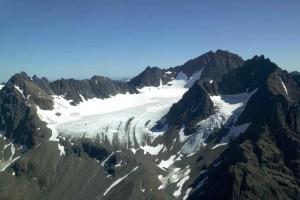 aérien, photographie, montagne, glacier, paysage, neige