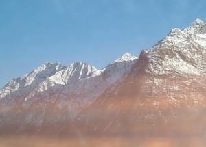 montaña, montañas, nieve, picos