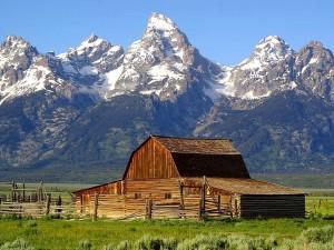 granges, grand, Tetons, montagnes