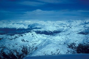 chugach, montagnes, avion, scénique