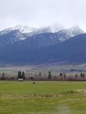 champs, montagnes, neige