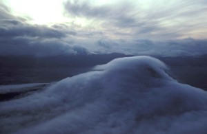 montagne, nuages, scénique