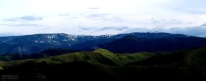 mountain, range, snow
