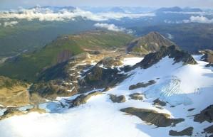 montagne, sommets, glacier, la perspective aérienne