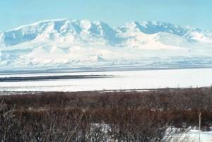 montagne, Veniaminof, noir, lac, paysage