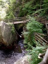 montagne, bois, pont, l'eau