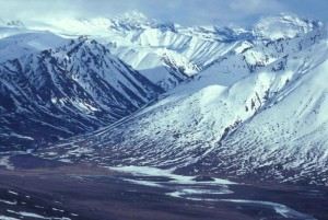 river, mountains, winter, aerial perspective