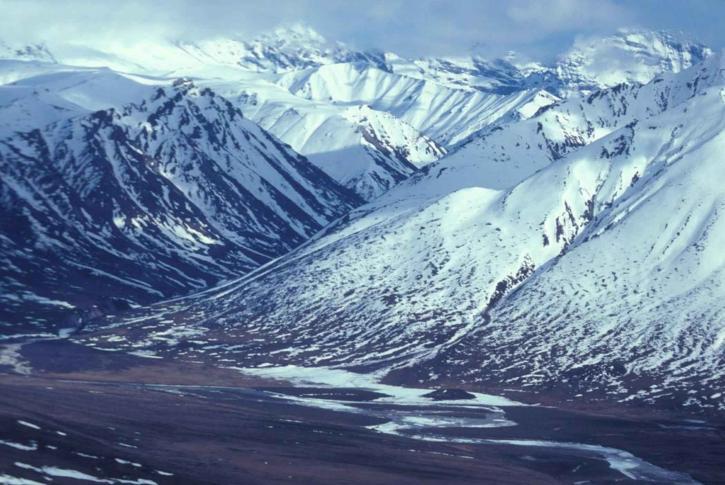 rivière, montagnes, hiver, la perspective aérienne