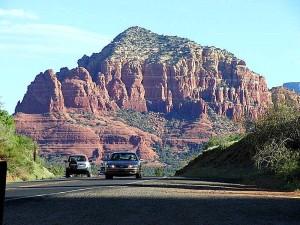 sedona, mountains, car, road