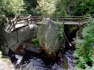 bois, pont, montagne
