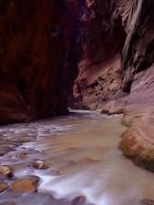 zion, se rétrécit, les cours d'eau, vierge, rivière