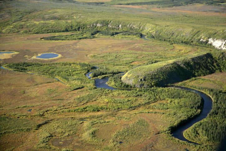 kanuti, rivière, glaciaires, caractéristiques, à l'est, limite, kanuti, désert, refuge