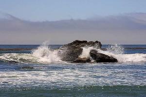 ocean, waves, clouds, rocks