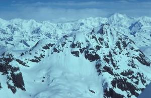 aerial, snow, covered, peaks