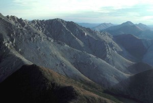 aerial, peaks, mountains