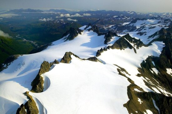 jagged, mountain, peaks, aerial perspective