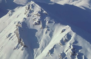 mountain, peaks, covered, snow, ice, aerial perspective