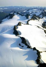snow, covered, mountain, peaks, aerial perspective