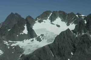 snowy, glacier, peaks, windy, weather