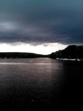 rain, cloudy, weather, lake