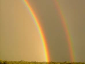 doppio, arcobaleno, oro, cielo