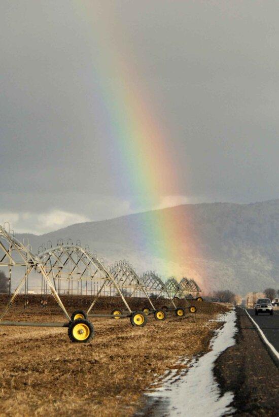 rainbow, arches, irrigation, wheel, line
