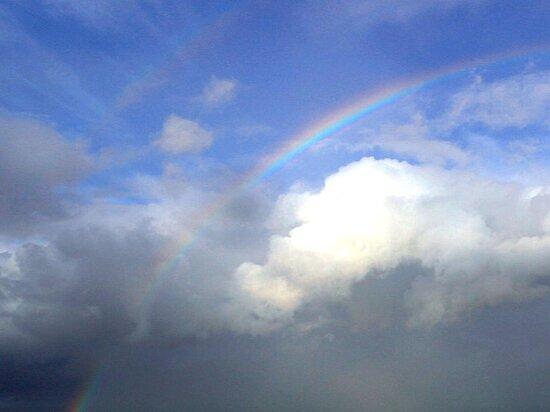 rainbows, couds, sky