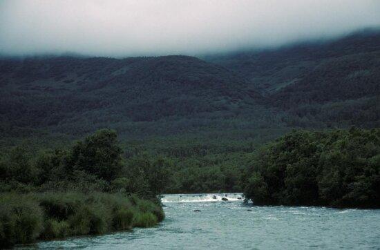 alaska, range, small, waterfall, river