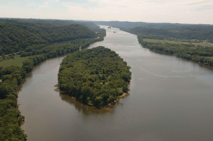 aerial, Ohio, river, islands, wilderness, refuge