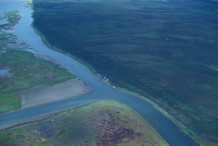 grand, rivière, la perspective aérienne