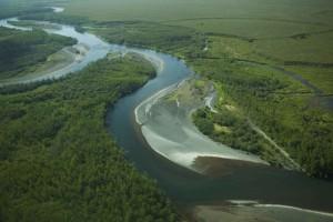 méandre, rivière, aérien, photographie