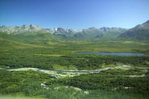 méandre, rivière, montagne, vallée
