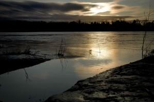 missouri, river, reflecting, hazy, setting, sun