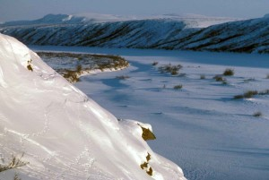 noatak, river, covered, snow, winter
