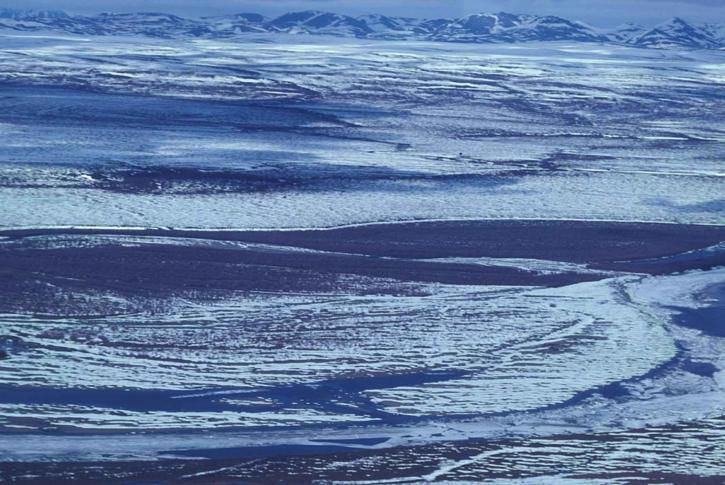 Fluss, bedeckt, Schnee, Frost, Winter, szenische