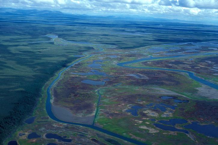 rieky, delta, močiare, letecký pohľad