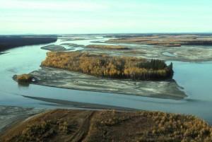 floden, höst, färger, antenn perspektiv
