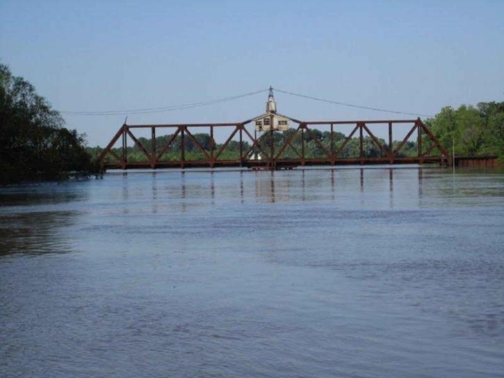 río, inundación, puente
