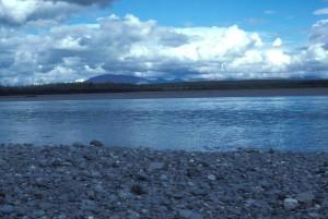 rivière, rivage, gris, roches, de près, photo