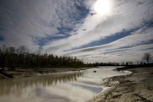 secundarios, canal, Missouri, ríos, erosión, árboles caídos,