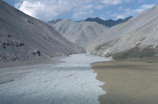 chandalar, river, flowing, mountains