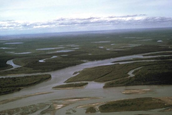 mouth, several, tributaries, river, scenic