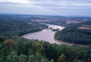 Ohio, river, running, between, Ohio, west, Virginia