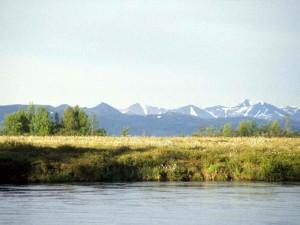 spans, tundra, banks, Tuluksak, river