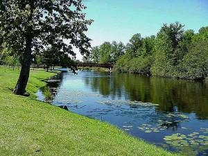 wisconsin, Medford, ruisseau, rivière, eau, parc, pique-nique